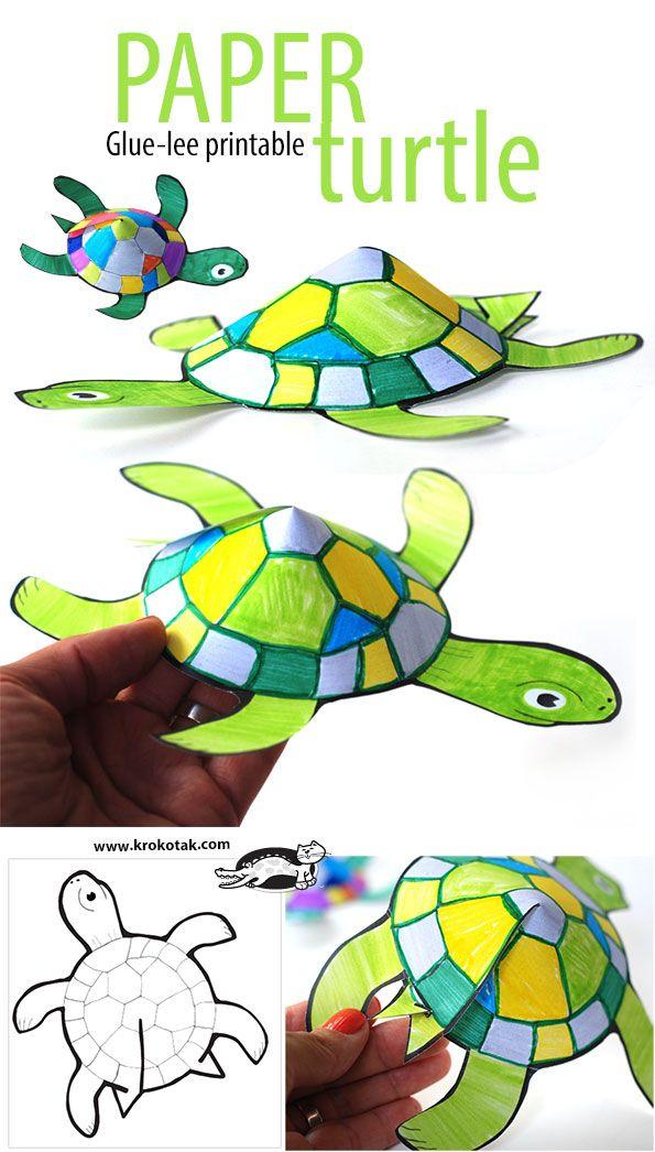 glue less printable turtle more diy paper craftskids - Printable Preschool Crafts