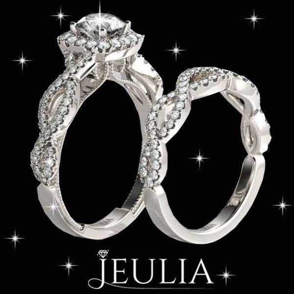Twist Style Created White Sapphire Rhodium Plating Halo Bridal Set Jeulia Bridalset Fashionjewelry