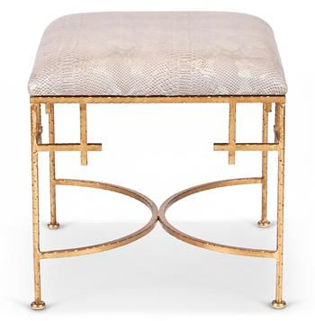 Limelight Hollywood Regency Taupe Shimmer Snakeskin Gold Stool Ottoman. #kathykuohome