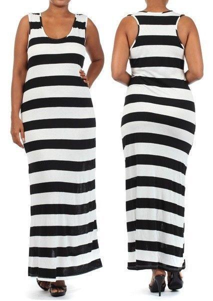 Black and white color block plus size maxi dresses