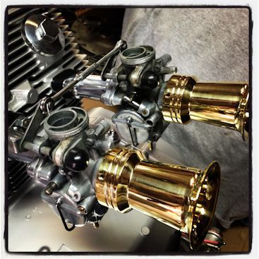 New Hand-Made Velocity Stacks for CB750   Custom Brass Velocity