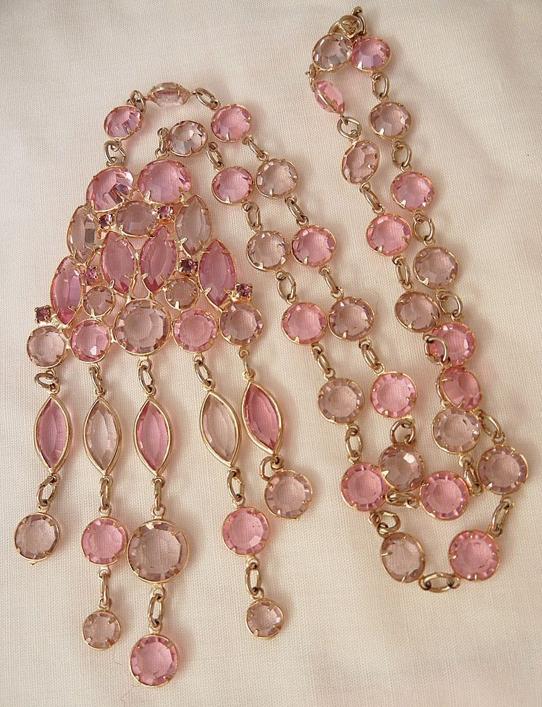 September sale many items reduced from 20 to 60% off Visit my Ruby Plaza Shop Link on home page     Gorgeous bold pink lavender Jour Crystal rhinestone dangling Necklace from vintageshari on Ruby Lane