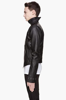 GARETH PUGH Black leather zippered removable sleeve Bib Jacket