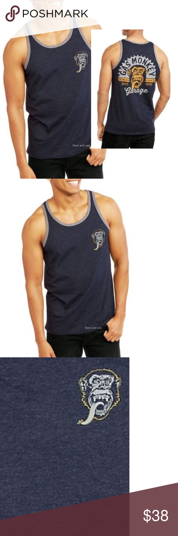 Gas Monkey Garage Tank Top Live Fast M NWT Heather Navy Muscle Top from Gas Monkey Garage with famous design. 60% Cotton, 40% Polyester.  Item Condition: New With Tag.  Pit to Pit: 20
