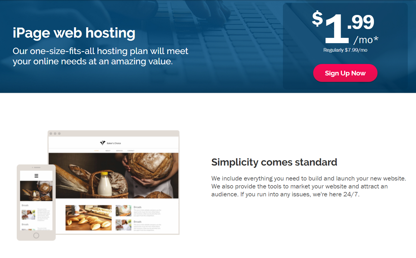 2 years iPage Web Hosting  FREE domain name  Best apps on the web