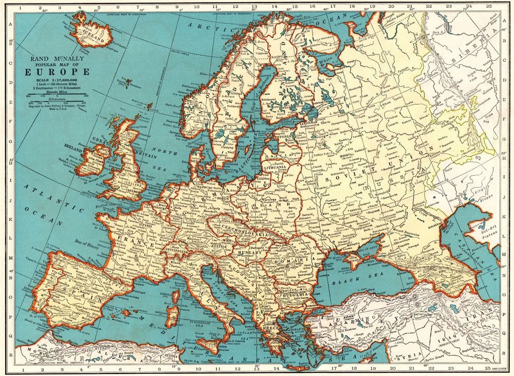 1939 Antique Europe Map Vintage Map of Europe Gallery Wall Art 5426 ...