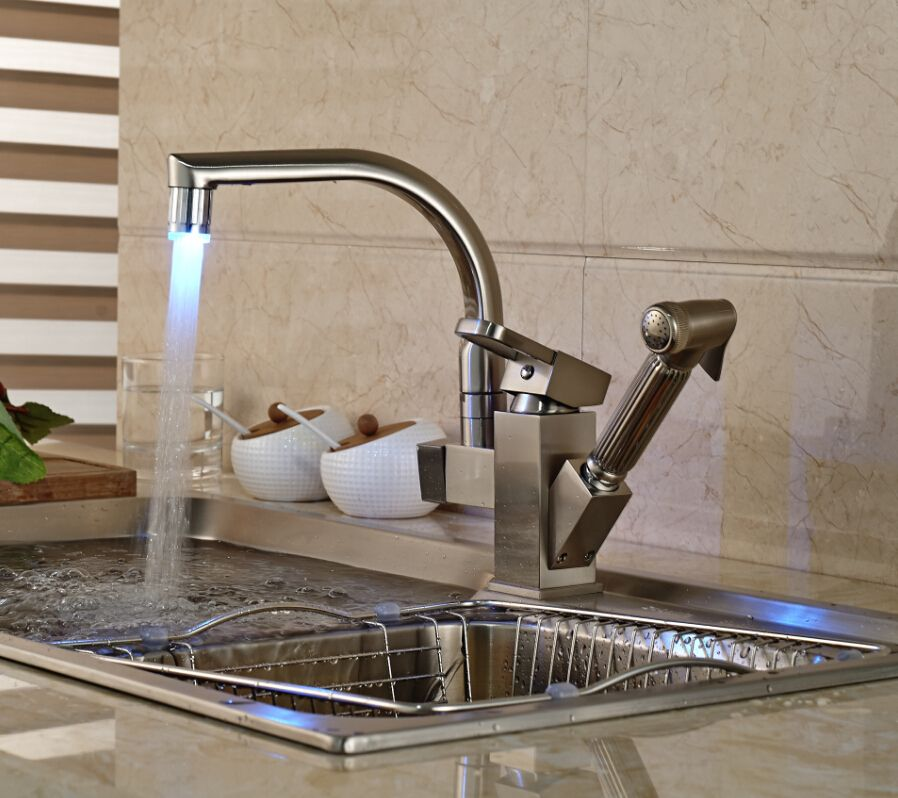 Shades Brushed Nickel Kitchen Sink Faucet With Pullout Sprayer