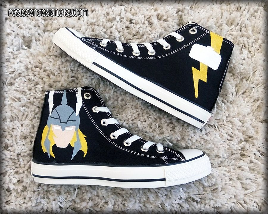 timeless design 7d119 43032 Thor Custom Converse   Painted Shoes by FeslegenDesign on Etsy