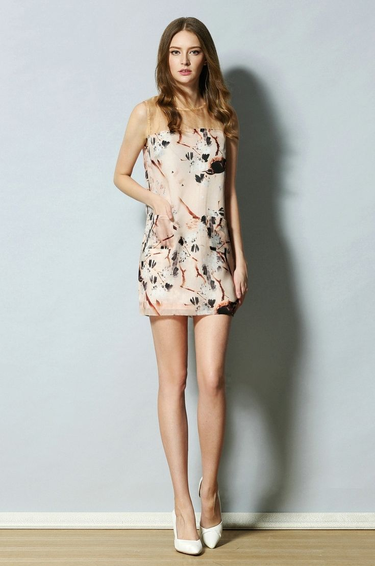 Silk and Chiffon Flower and Branch Dress