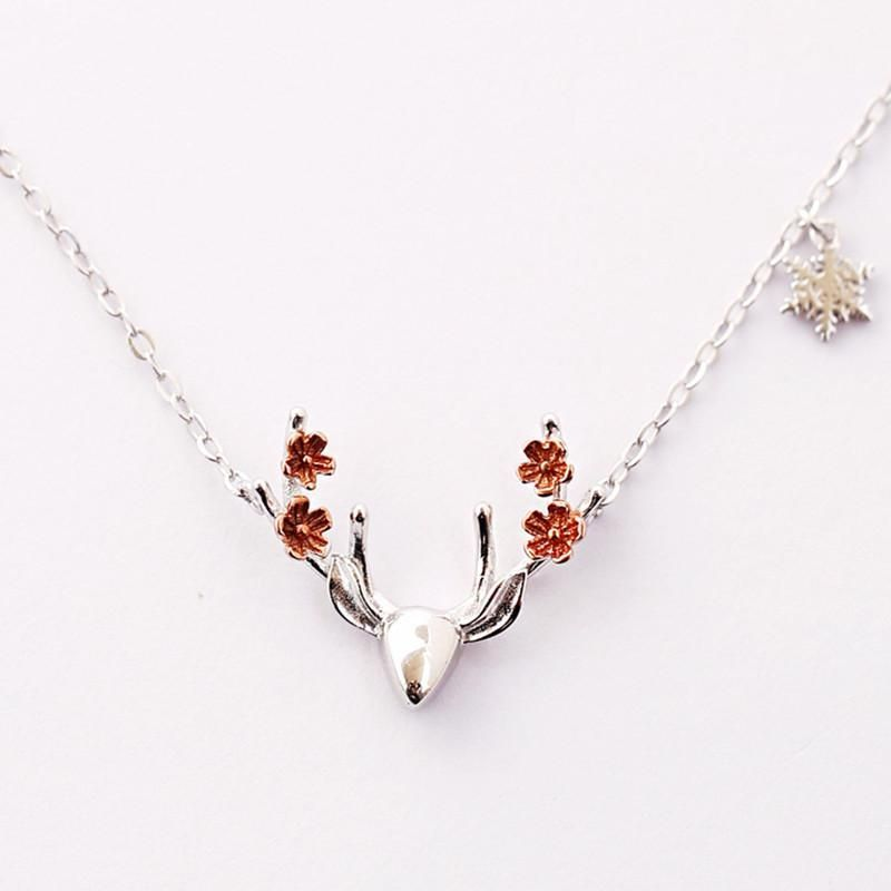925 Silver Deer Horn Antler Necklace Jewelry Cute Animal Pendant Women Necklace