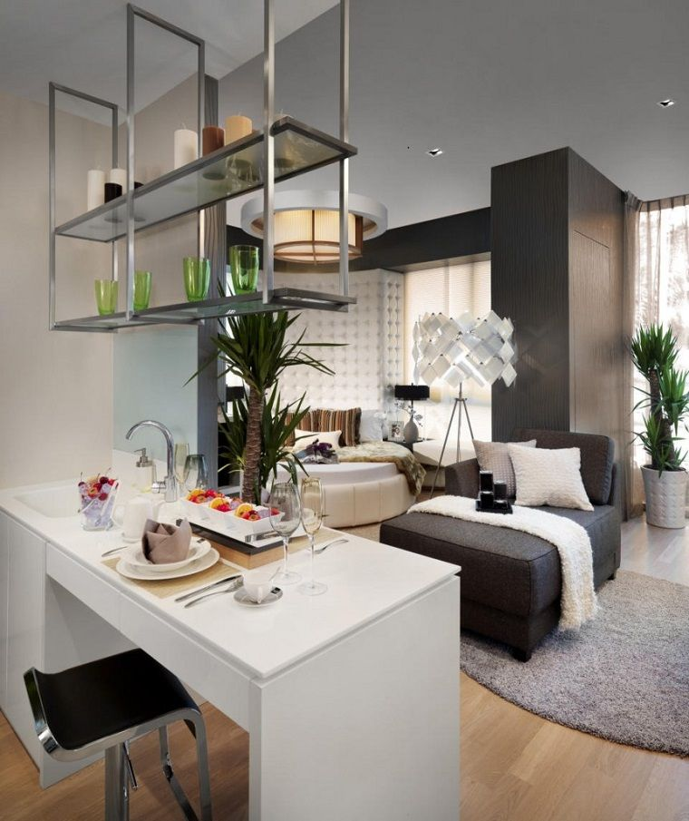 Decoracion apartamentos peque os cincuenta ideas for Ideas decoracion loft