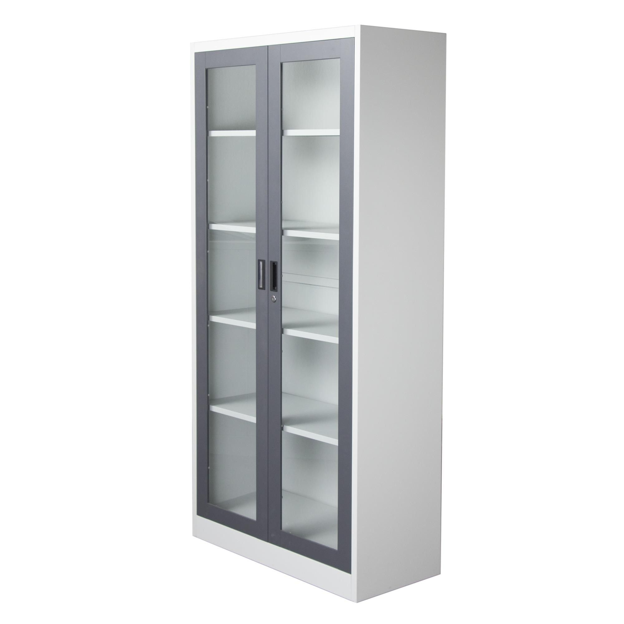 White Solid Wood Tall Narrow Bookcase With 4 Tier Shelves And Gray Steel  Frame Swing Glass