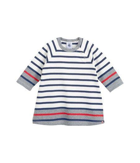 6f9074148fb34 Robe marinière bébé fille en jersey lourd à rayures contrastées (Petit  Bateau)