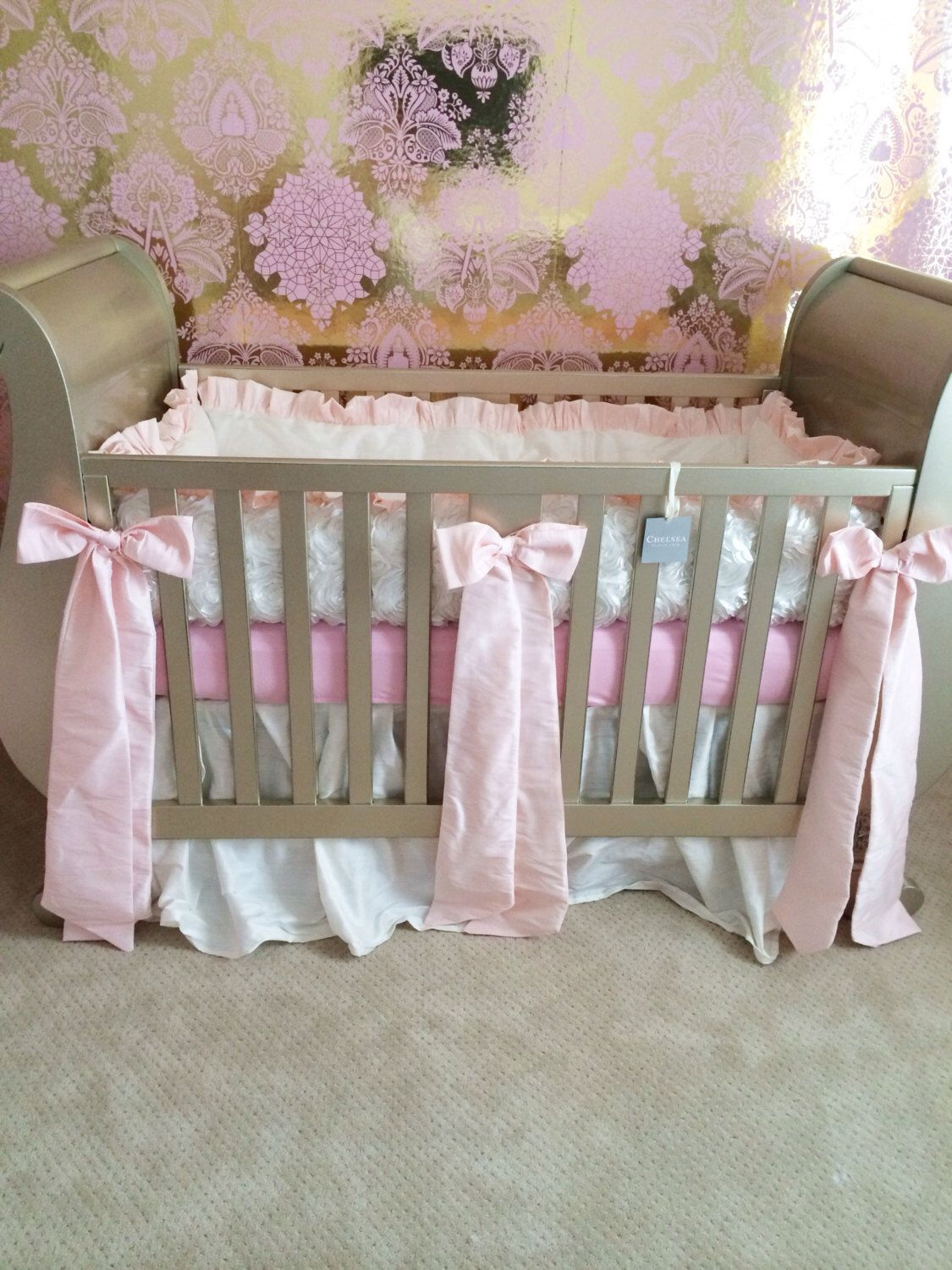 Crib bedding, pink silk and white rosette bumper and silk