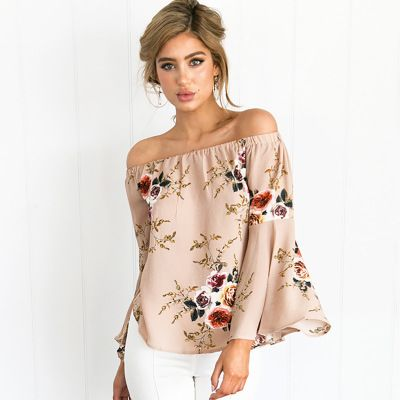9b2e9b38948b Wholesale 2018 Summer Floral Print Blouse Women s Off Shoulder Tops Long  Sleeve Shirt Plus Size ( 7.41 pc) from Import-Express with high quality and  fast ...