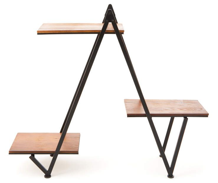 Modern Wood Metal 3 Tier Plant Stand