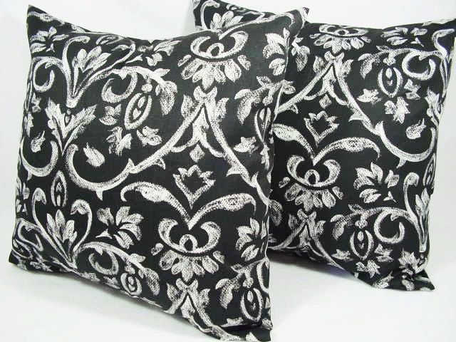 Two Damask Throw Pillows in Black and White - 16 x 16 inches Decorative Throw Pillow Couch Pillow Cover Accent Pillow. $28.00, via Etsy.