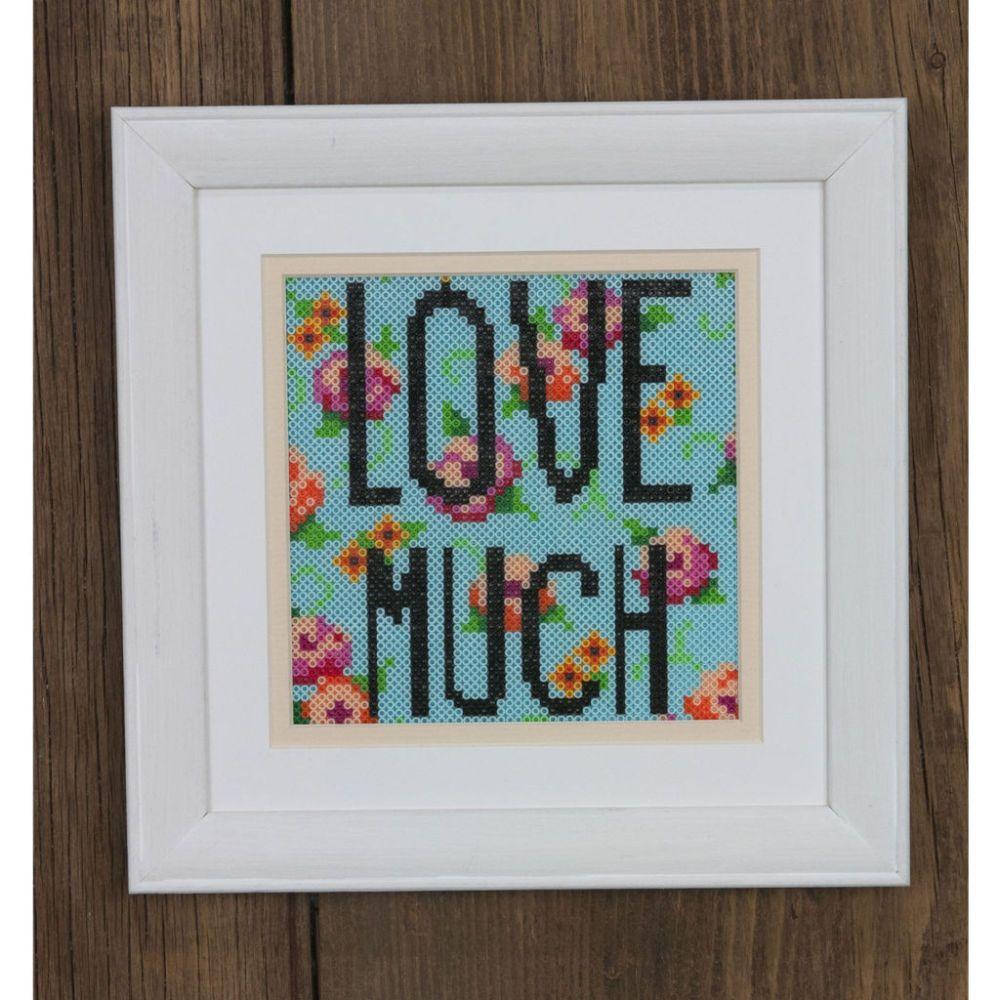 Perler® Mini Beads™ Floral LOVE MUCH Framed Art | Home Decor