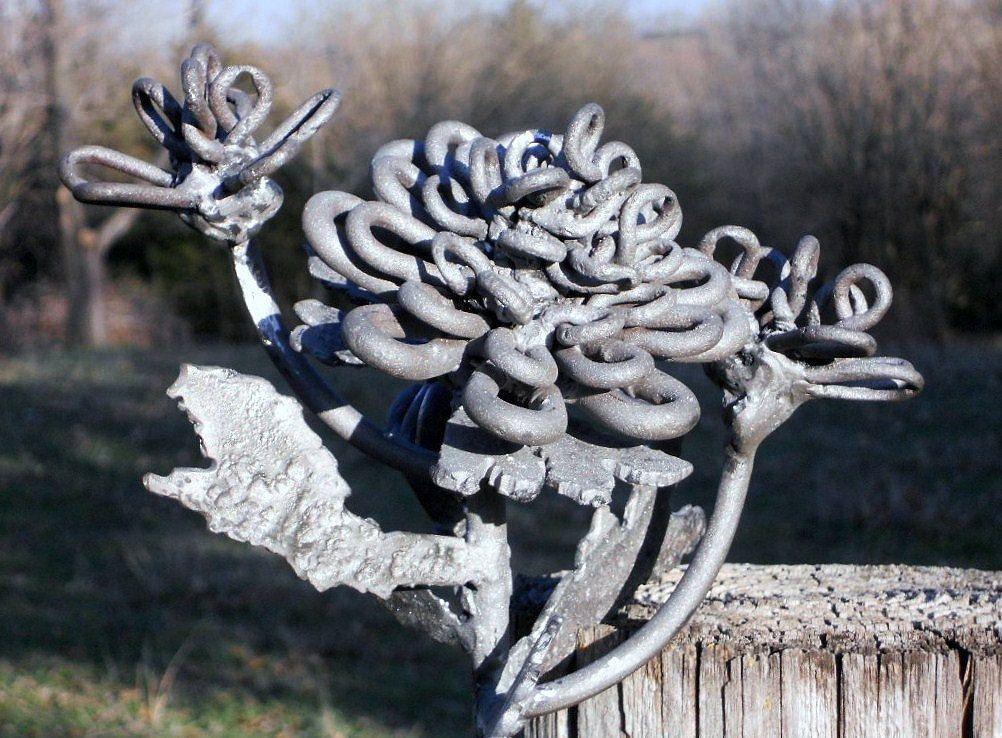 Metal Cactus Yard Art For Sale Flower Metal Sculpture Yard Art Garden Art Found Objects Welded Art Metal Flowers Metal Sculpture Yard Art