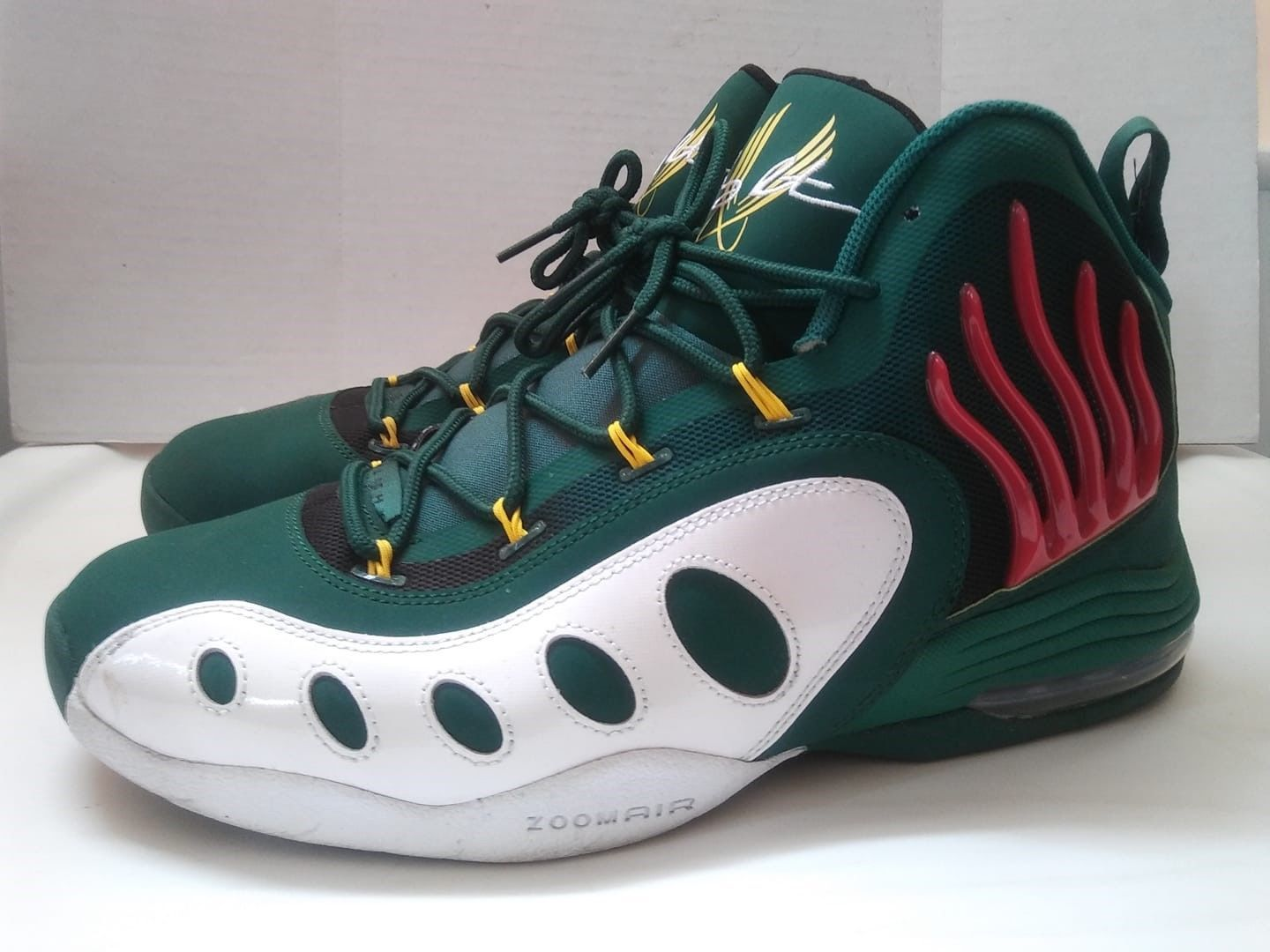 best sneakers 9651d ec32f Nike Air Sonic Flight Gary Payton Flames Green Shoes Zoomair Sz 11.5 Great  Cond