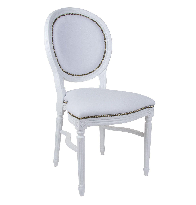 Sedia in ecopelle bianca modello Luigi XVI a noleggio. Arredamenti ...