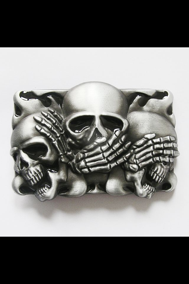 hear no evil speak no evil see no evil skull belt buckle i want it i need it pinterest. Black Bedroom Furniture Sets. Home Design Ideas
