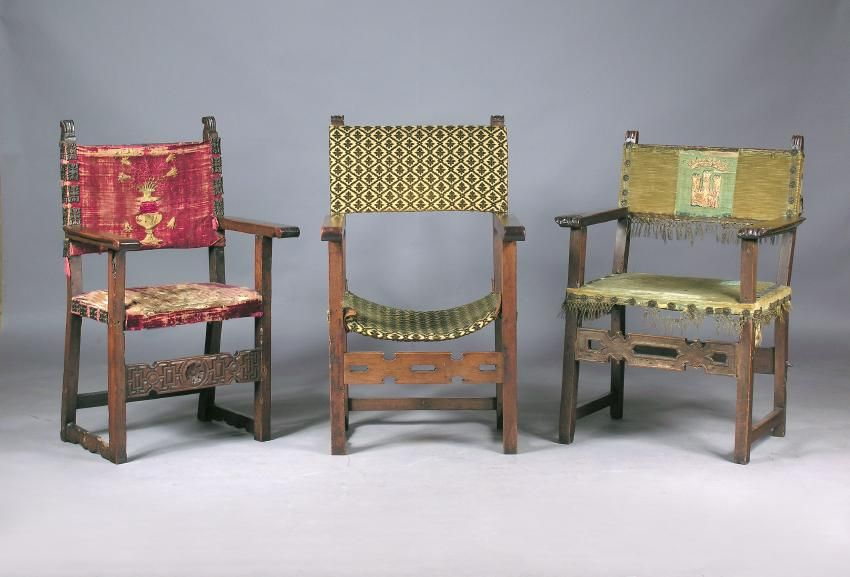 Tres sillones espa oles antiguos frailero del siglo xvii for Sillones antiguos