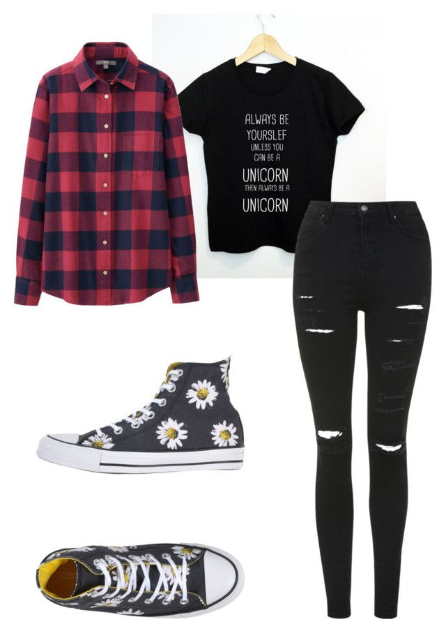 """Untitled #2"" by crazymofo112002 ❤ liked on Polyvore featuring Uniqlo, Converse, Topshop, women's clothing, women, female, woman, misses and juniors"