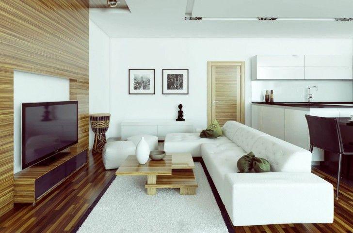 Living Room White L Shaped Sofa White Wall Fur Rug Wooden Floor Table Tv Cabinet Blackchair S L Shaped Living Room Livingroom Layout Living Room Design Modern