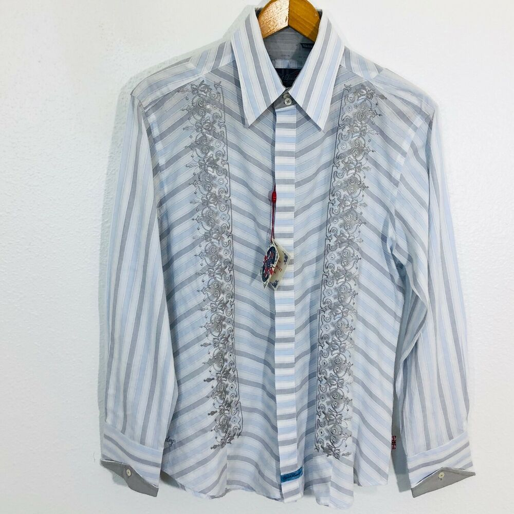 Details About Nwt English Laundry Embroidered Shirt Hand Sewn Gray