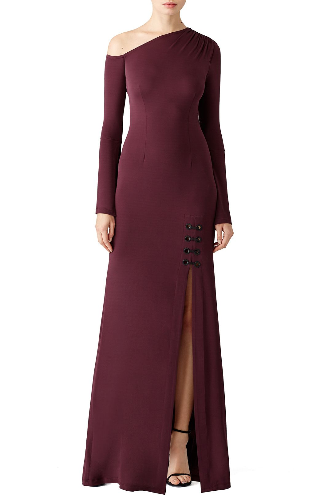 Bordeaux matte asymmetrical gown gowns formal wear and designers