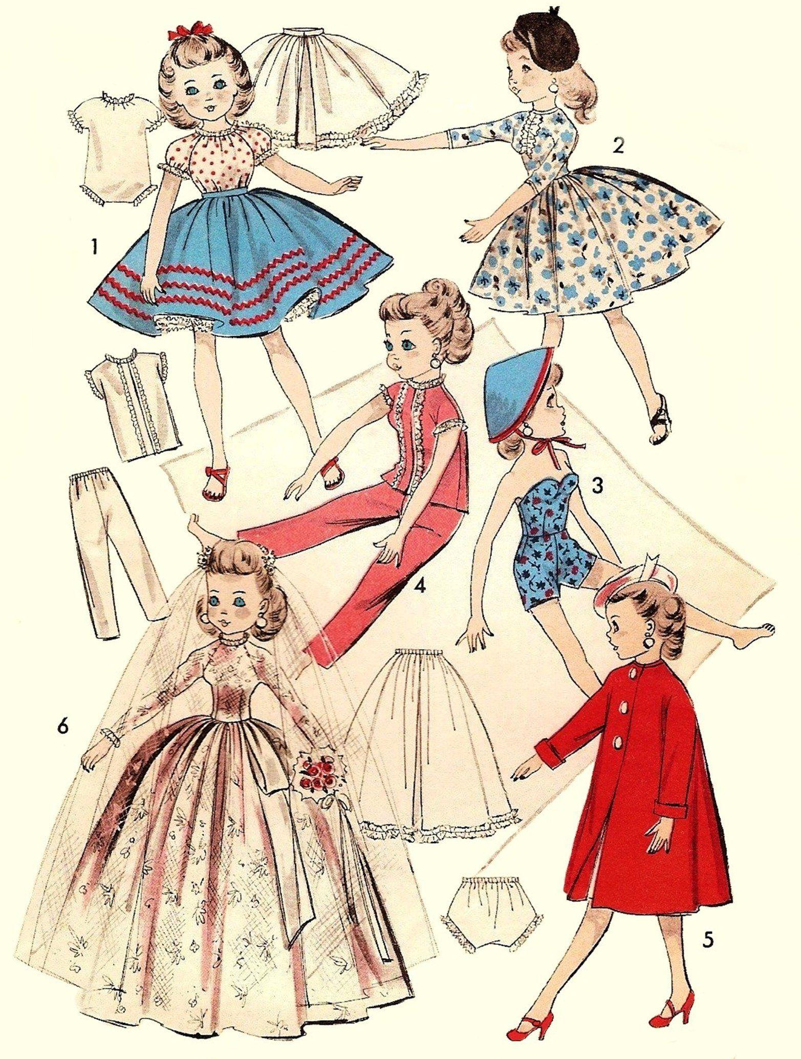 "Vtg Old Fashioned Doll Clothes Pattern ~ 10.5/"" Little Miss Revlon Cissette Jill"