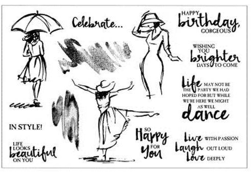 Umbrella Woman clear Rubber Stamp Set w/ dance, style