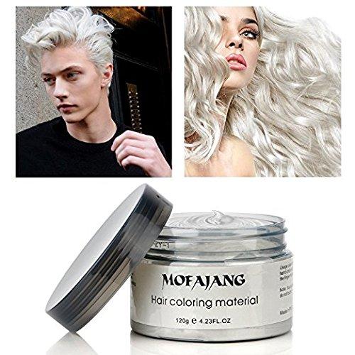 Amazon Com Temporary White Hair Color Wax Efly Mofajang Instant Hairstyle Cream 4 23 Oz Hair Pomades Hairstyle Hair Wax Natural White Hair Hair Gel For Men