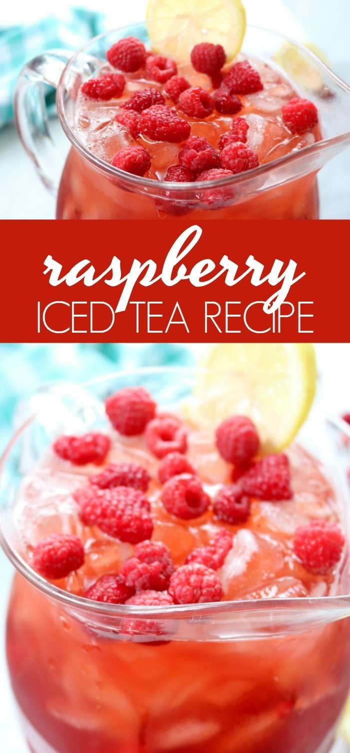 Raspberry Iced Tea Recipe! An easy summertime homemade and refreshing Iced Tea recipe for pool parties, BBQs, backyard grilling, or family get-togethers!