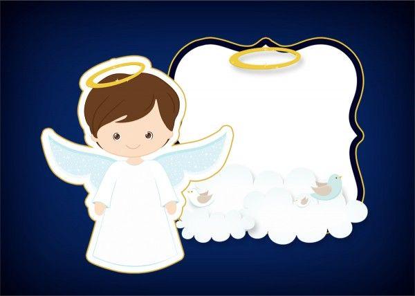 Convite Moldura E Cartao Batizado Menino Azul Marinho E Branco