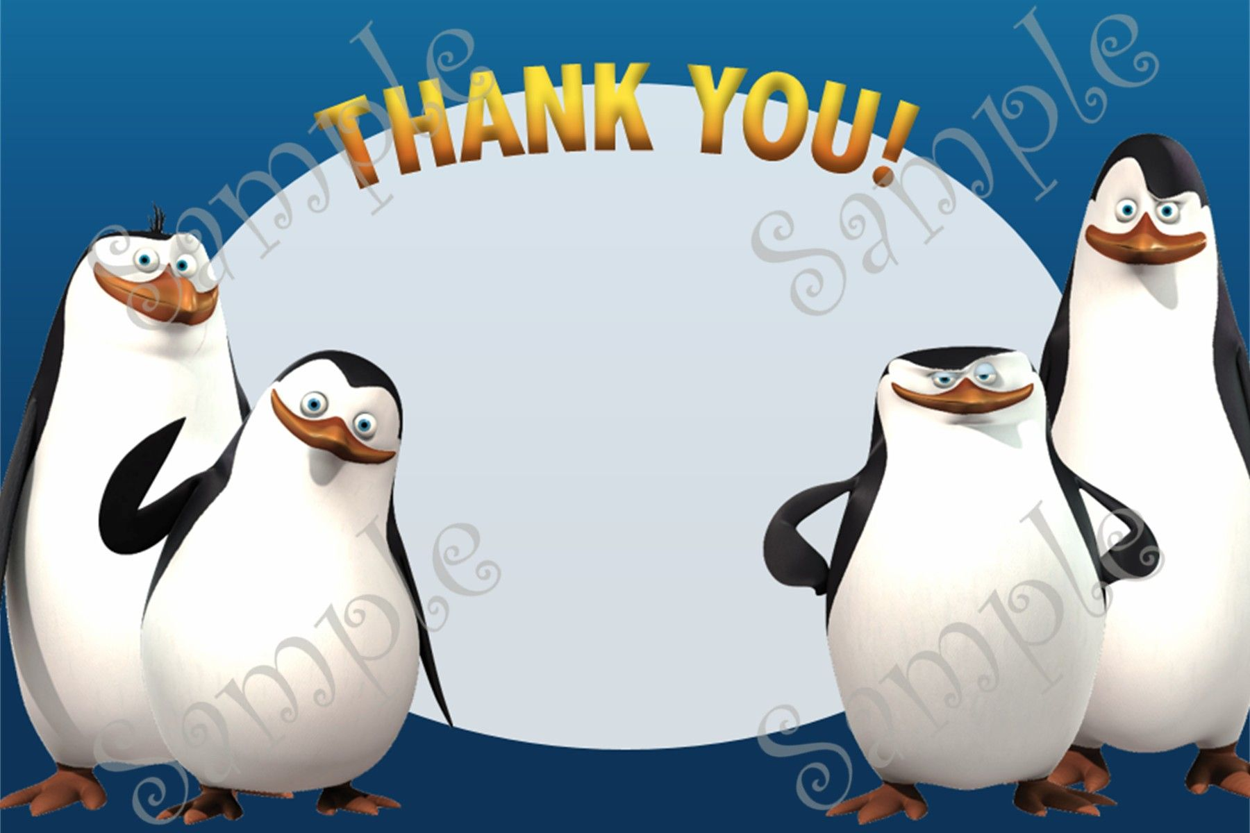 Penguins of Madagascar Birthday Invitation and Thank you card ...