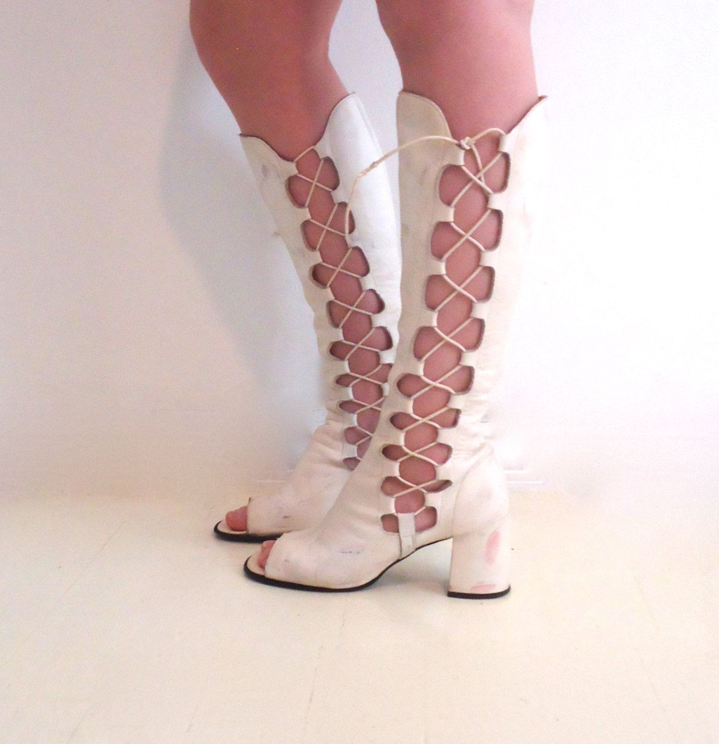 476a74d3326 Vintage 60's Gladiator Go-go Boots White Leather Knee High Lace Up ...