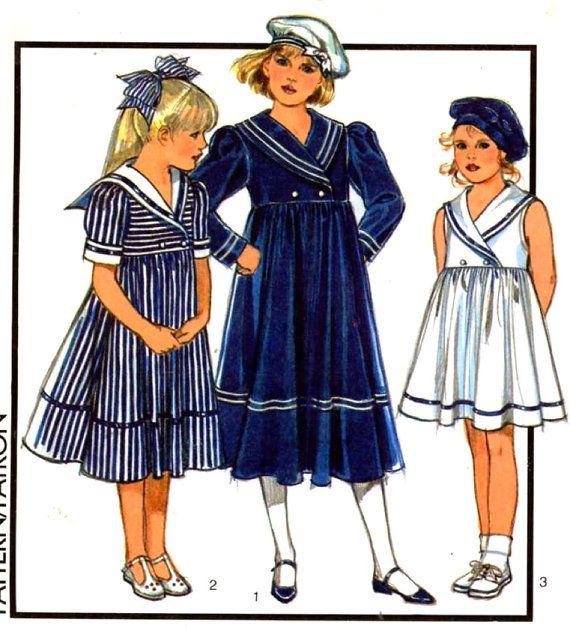 "Antique Doll Pattern 14/"" ~ Middy Dress with Sailor Collar"