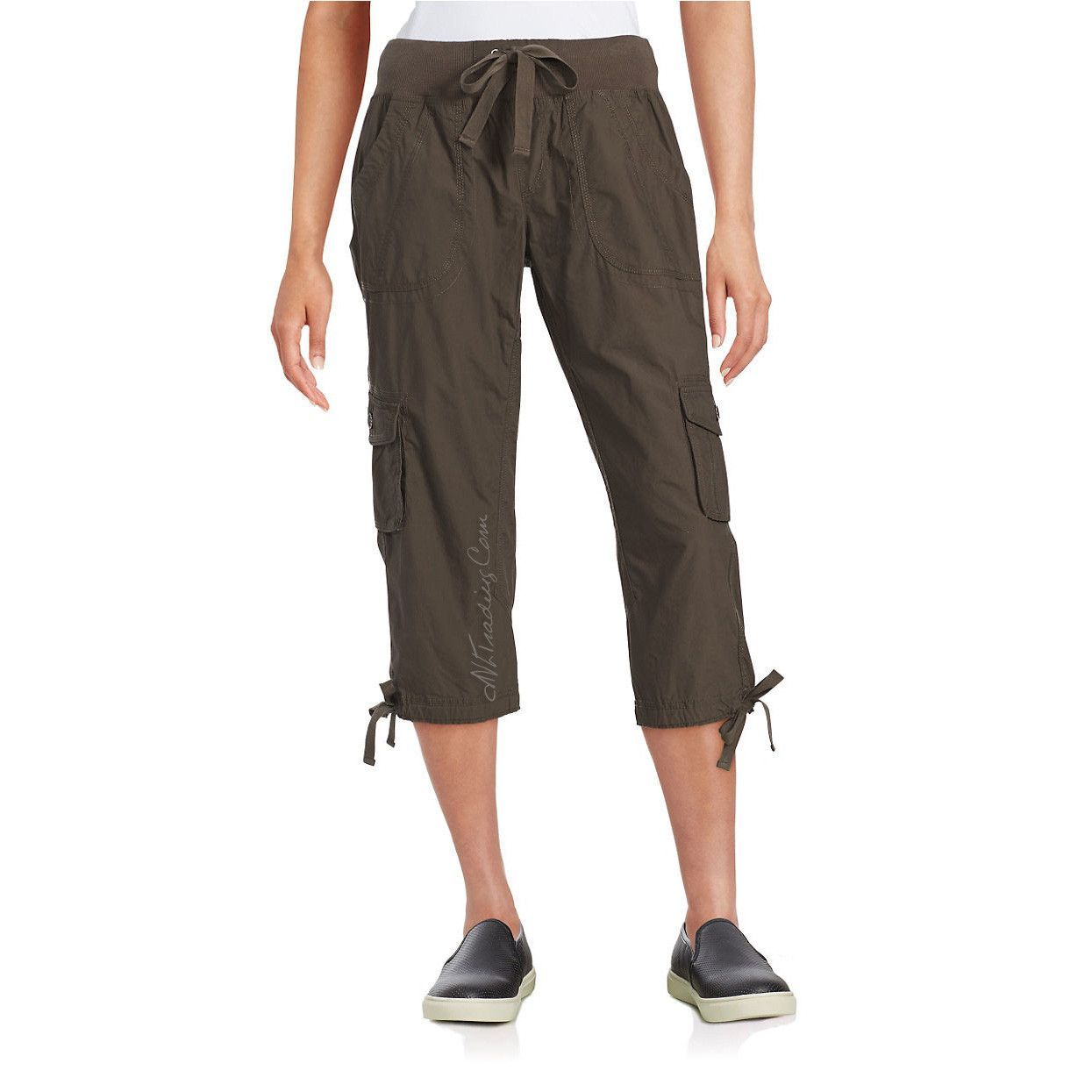 e86be1ca518de0 Calvin Klein White Label Performance 100% Cotton Drawstring Pull-on Cargo  Capri Pants
