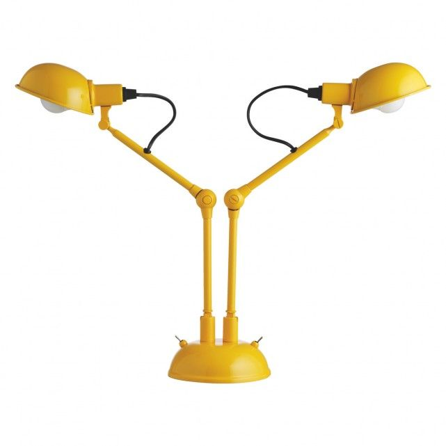 TOMMY Yellow Metal Twin Head Desk Lamp
