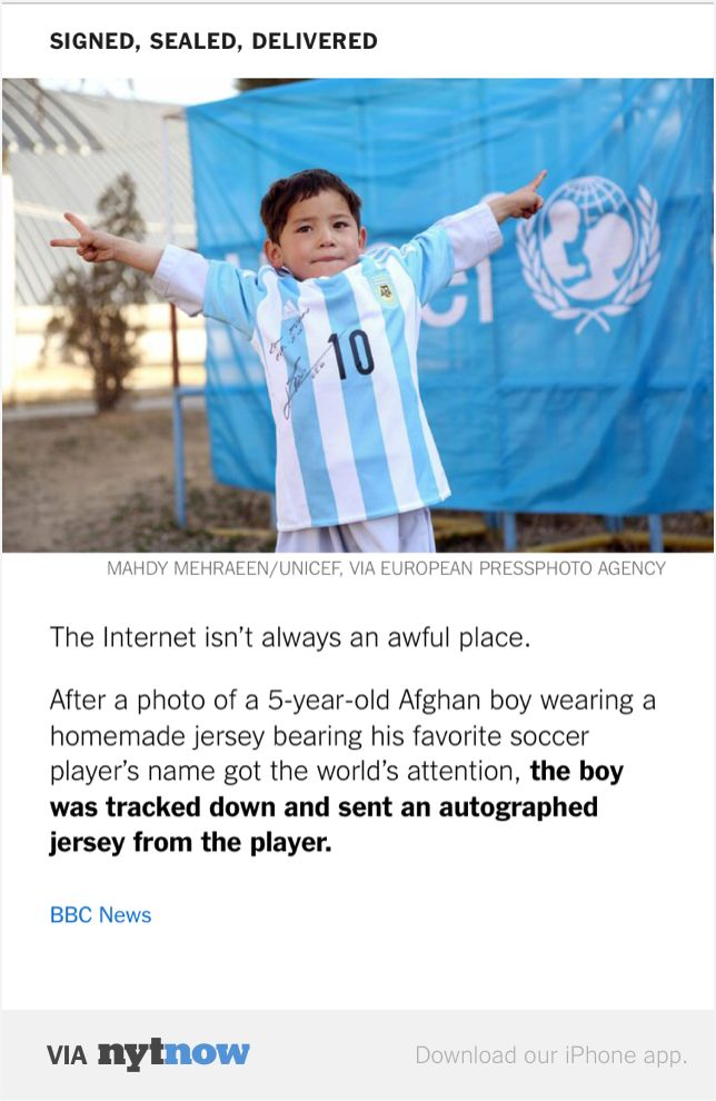 Afghan Boy Murtaza Ahmadi Gets Real Messi Shirt, But more importantly Washes his hands before taking any BBC snacks and eating. Health pros should follow his example!  http://www.bbc.com/news/blogs-trending-35658337