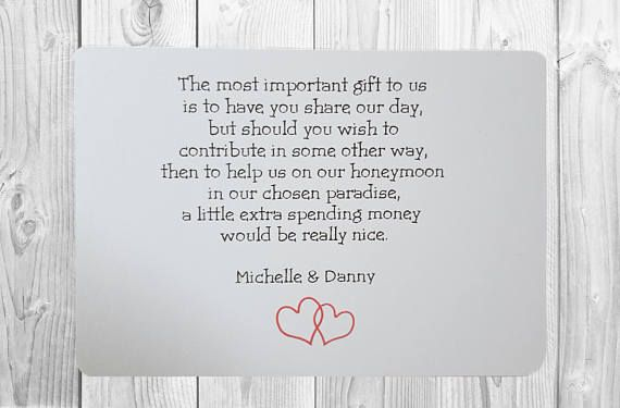 Funny Wedding Invite Poems: 10 X Personalised Wedding Money Wish Poem / Gift Poem