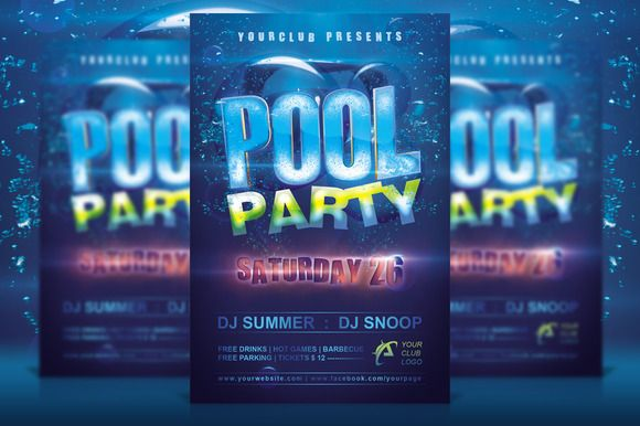 Pool Party Flyer by AlienGFX on @creativemarket inviations - pool party flyer template