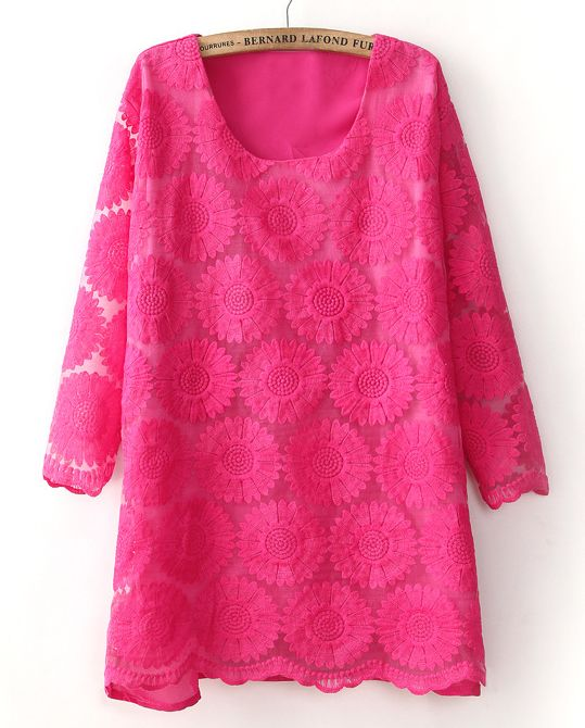 Pink Round Neck Half Sleeve Lace Dress. Adorable!!!