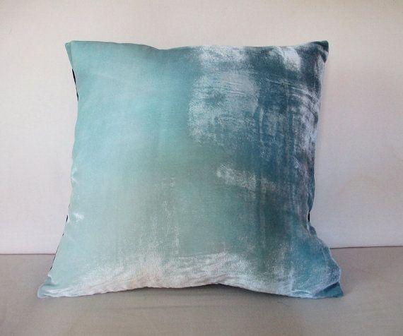 Ice Blue Velvet Decorative Cushionpillow Cover 40 40cm Square Simple Ice Blue Decorative Pillows