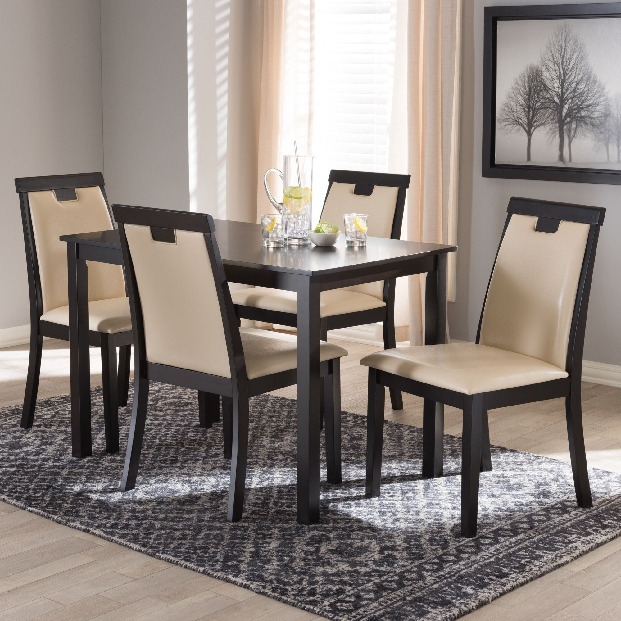 Contemporary Beige Faux Leather 5 Piece Dining Set By Baxton Studio, Size 5