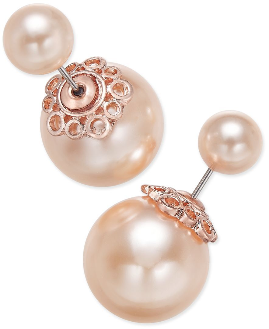 Charter Club Rose Goldtone Pink Imitation Pearl Front And Back Earrings,  Only At