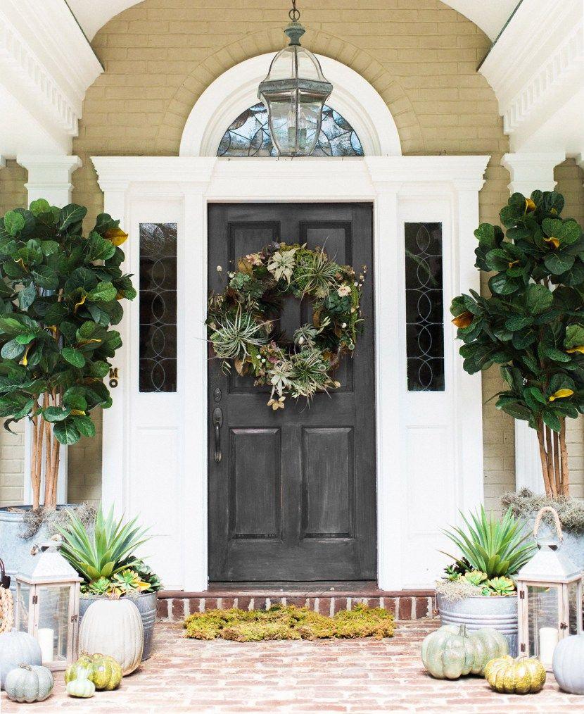 Creating A Fall Front Door Using Succulents Pottery Barn Front Porch Decorating Front Door Design Fall Front Door