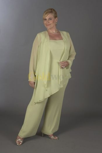 Sexy Pale Green Chiffon Mother Of The Bride Pant Suits Bridesmaid